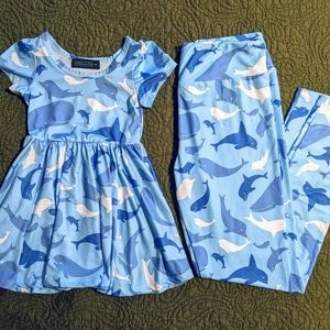 Matching Dolphin Adult OS Leggings & 2T Dress